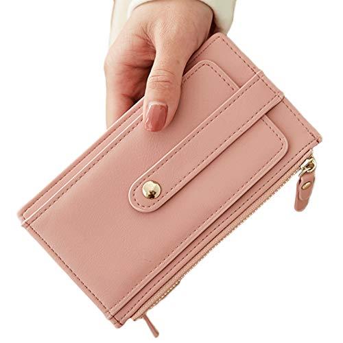 YKW El Robo de la Tarjeta del Bolso de Gran Capacidad de Las Mujeres Cepillo desmagnetización Exquisita Doble Cremallera Ultra Caja de la Tarjeta Monedero pequeño y Delgado (Color : Pink)