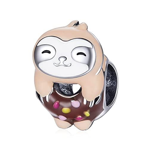WOSTU Donut Sloth Charms For Bracelets For Women Teens Fit Pandora Charms Bracelet