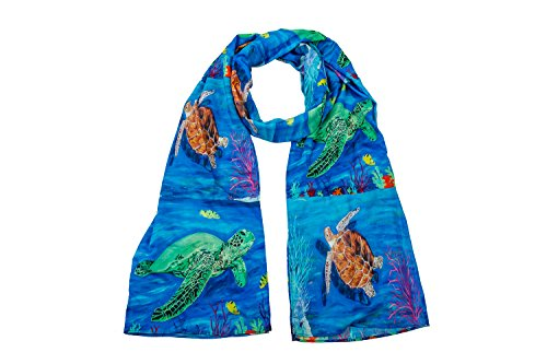 Animals Viscose Scarf - From My Original Paintings - Support Wildlife Conservation, Read How (Sea Turtles)
