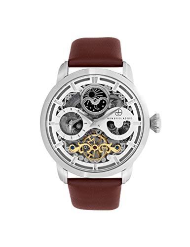 Reloj Trendy Classic de piel para hombre, color marrón