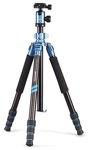 Cullmann 55463 MUNDO 525M Dreibeinstativ inklusiv Kugelkopf und Einbein (Packmaß 31,5 cm, 3 Auszüge, Höhe 160 cm, Tragfähigkeit 8kg) blau