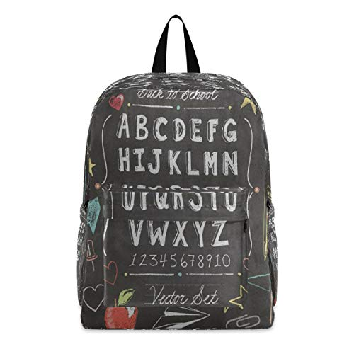 Large Backpack Vintage School Chalkboard Star College Shoulder Backpacks Bag Bookbag Lightweight