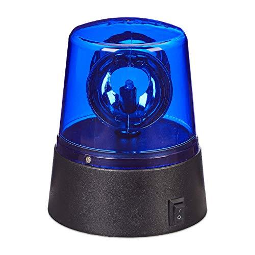 Relaxdays LED Blaulicht, Rundumleuchte mit drehendem Reflektor, Partybeleuchtung zum Hinstellen, batteriebetrieben, blau