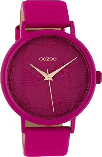 Oozoo Damenuhr mit Lederband 42 MM Colours of Oozoo Ginkgoblatt Zifferblatt Unicolor Pink C10399