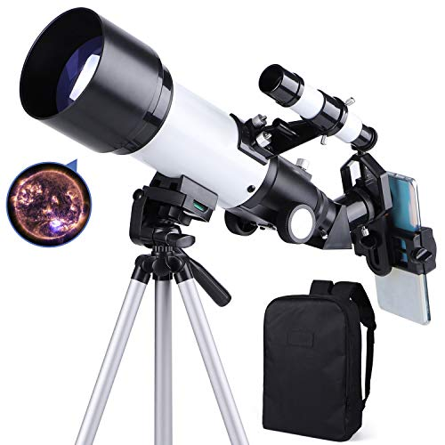 occer Telescopes for Adults Kids Beginners - 70mm Aperture 400mm Telescope FMC Optic for View Moon Planet - Portable Refractor Telescope with Adjustable Tripod Finder Scope Phone Adapter