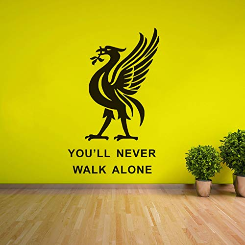 Makirt Peel and Stick Removable Wall Stickers Liverpool Football Club You'll Never Walk Alone Inspiration Quote Soccer Player Gift