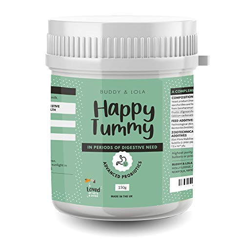 Buddy & Lola Happy Tummy Dog Probiotic - Daily Digestive Support with Probiotics, Prebiotics, Enzymes, Fibre, Amino Acid. Helps Digestive Disorders and Loose Stools in Dogs and Cats (150g)