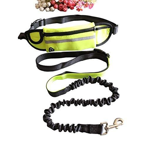 Correa para Perros Correr Nylon Mano Productos para Mascotas Perros Arnés Collar Correas para Correr Correas de Cintura Ajustable Cuerda para cinturón de tracción - Verde, 130CM