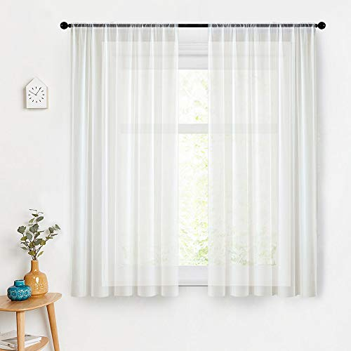 MRTREES Sheer Curtains 45 inch Length Off White Short Sheer Curtains Bathroom Small Window Kitchen Voile Curtain Panels Rod Pocket Basement Curtains 2 Panels Window Treatment Set