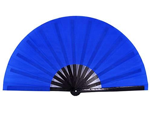 Amajiji Large Folding Fans, Rave Festival Accessories for Men/Women, Chinese Japanese Hand Fan Gift Fan Drag Queen Fan Performance Fan Dance Fan (Blue)