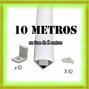 Perfil de aluminio para LED tira con difusor opaco PACK 10 metros con soporte de montaje angular L