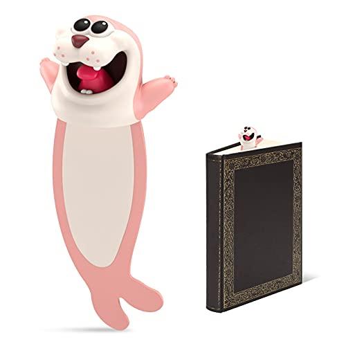 Segnalibro 3D Cartoon Animali Bambini per un maggiore divertimento durante la lettura, Bookmark per studenti e bambini, adatto per bambini, adulti, feste (guarnizione) (circa 10 cm)