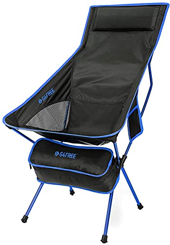 G4Free Lightweight Portable Camping Chair Outdoor Folding Backpacking High Back Camp Lounge Chairs with Headrest and Pocket for Sports Picnic Beach Hiking Fishing (Dark Blue)