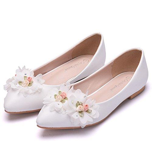 HMNS Shoes Bailarinas con Punta Cerrada para Mujer Zapatos de Novia Blanco...