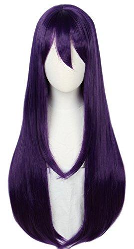 Linfairy Long Purple Wig Halloween Cosplay Wig For Women 85CM