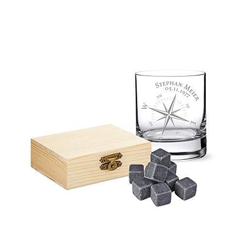 AMAVEL Set da Whisky, Pietre con Scatola in Legno, Tumbler in Vetro Personalizzato con Nome e Data, Motivo Bussola, 9 Cubetti Ghiaccio in Pietra Riutilizzabili, Bicchieri Natale