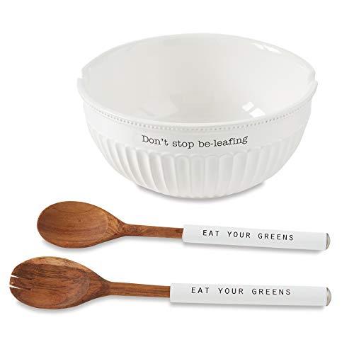 Mud Pie Juego de ensaladera grande con volantes, 12,7 cm de alto x 28 cm de diámetro, utensilios de 28 cm de largo, blanco, marrón