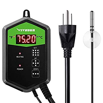 VIVOSUN Digital Heat Mat Thermostat Temperature Controller 40–108 ºF for Seedlings Germination Rooting Fermentation and Reptiles