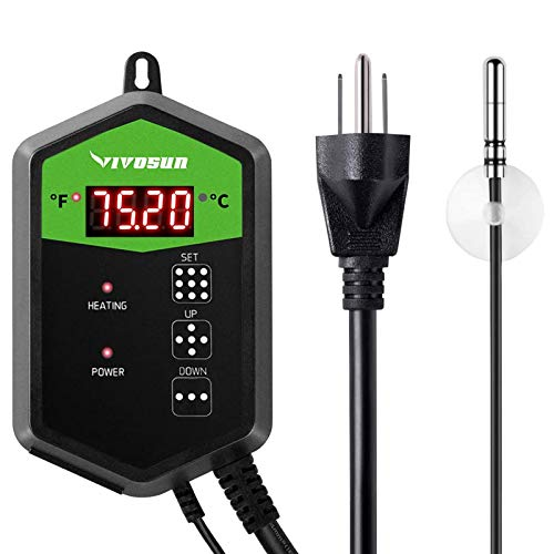 VIVOSUN Digital Heat Mat Thermostat Temperature Controller 40–108 ºF for Seedlings, Germination, Rooting, Fermentation and Reptiles