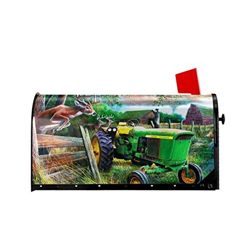Foruidea Farm Tractor Nature Deer Mailbox Covers Magnetic Mailbox Wraps Post Letter Box Cover Standard Oversize 25.5x21 Mailwrap Garden Home Decor