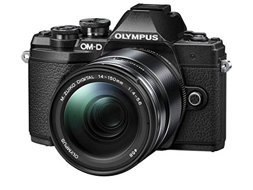 Olympus - Kit de cámara OM-D E-M10 Mark III Sistema Micro Four Third, Sensor 16 Mpx, autoenfoque táctil, Visor electrónico, vídeo 4K, Wi-Fi, en Negro con el M.Zuiko Digital 14-150mm F4.0-5.6 II Negro