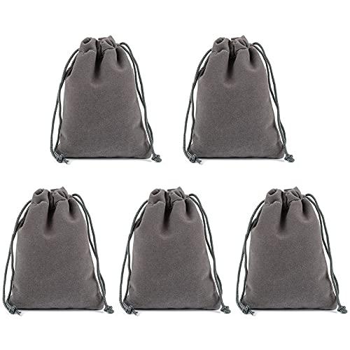 Tomedeks 5PCS bolsa de terciopelo bolsa de joyería con cordón, bolsa de joyería de regalo para banquete 10 * 8 CM (Gray)