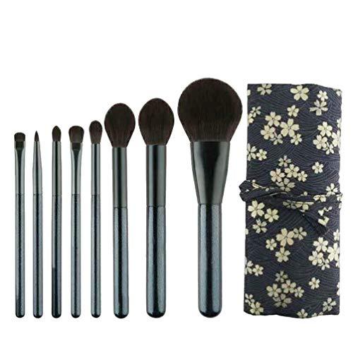 SOLUSTRE 8Pcs Kit de Pinceaux de Maquillage Portable Pinceau Cosmétique Ensemble Fibre Artificielle avec Sac de Stockage D'impression de Fleurs pour Outil de Maquillage de Fard à Paupières