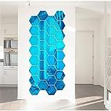 Kloius 12 unids/Set Uso doméstico Espejo Hexagonal acrílico Etiqueta de la Pared Pegatinas de Pared