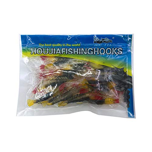 Wild.life Fishing Trout Bass Crappie Micro Grass Shrimp Soft Lures Bait with Hook Pink White Luminous (Red Black)