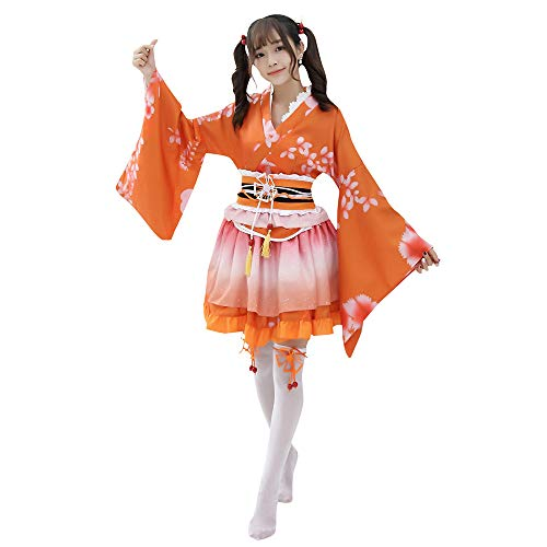 Japanese Kimono Costumes Floral Print Skirt Lolita Outfit Yukata Halloween Women Adult Short Mini Dress with OBI Belt (Orange)