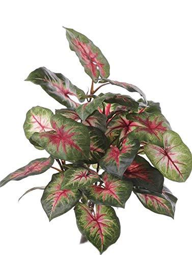 artplants.de Set 3 x Kunstpflanze Caladium Severin auf Steckstab, grün-rot, 40cm, Ø 35cm - Deko Pflanze