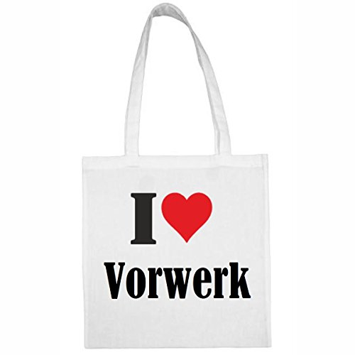 Tasche I Love Vorwerk Größe 38x42 Farbe Weiss Druck Schwarz