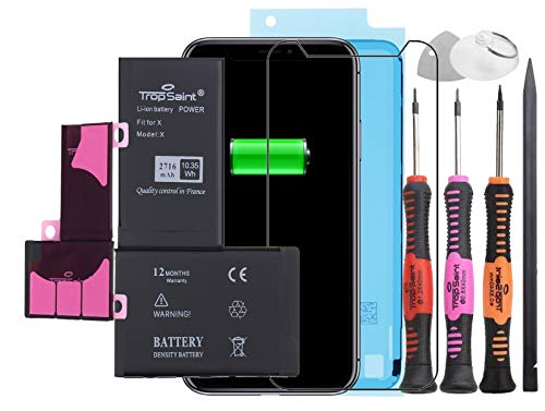 Trop Saint® Batería Interna Compatible con iPhone X - (2716mAh/3,82V) Repuesto Incluye Instrumentos, Film Protector Pantalla y Pegatina Adhesiva Impermeable