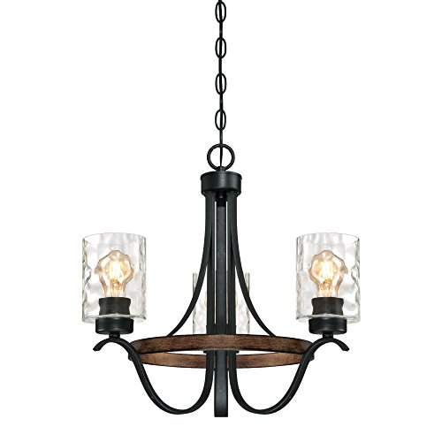 Westinghouse Lighting 6331800 Barnwell Three-Light Indoor Chandelier, Textured Iron and Barnwood Finish with Clear Hammered Glass, 3, Iron & Barnwood