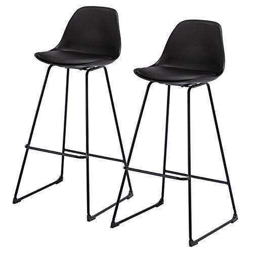 eSituro SBST0382-2 2 x Barhocker, 2er Set Barstuhl, Küchenstuhl aus Kunststoff, Sitzhöhe 75 cm, Tresenhocker, 4 Beine aus Metall, Schwarz lackiert, mit guter gepolsterten Rückenlehne, Schwarz