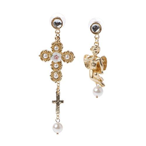 DREAMDEER Pendientes de Gota de ángel de querubín con Lazo de Encaje Barroco Joyas de Perlas asimétricas Reales para Mujer - Blanco