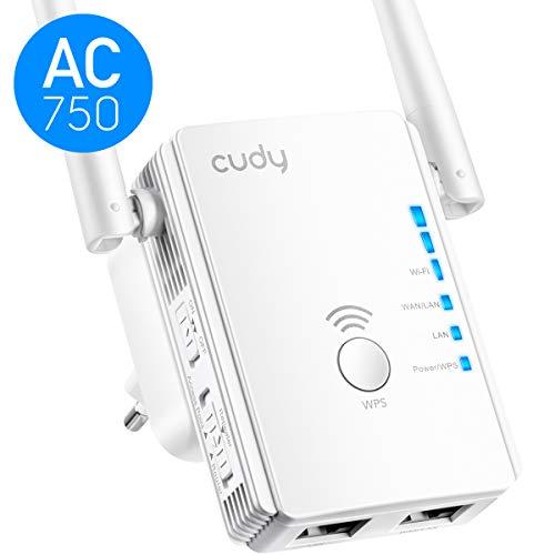 Cudy RE750 - Repetidor Wi-Fi Dual (750 Mbit/s, WPS, firmware alemán, 2 Puertos, WPS, Modo Ap, Compatible con Todos los routers WLAN, amplificadores WLAN)
