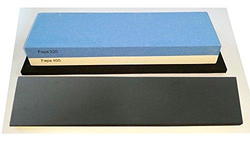 scherenkauf Messer-Schärf-Set, 3-teilig, 6cm breiter!!! Korund FEPA 220/400/3L mit behandeltem Abziehleder