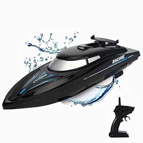 XIAOKEKE 2.4Ghz Giocattolo Motoscafo con Telecomando & Cavo USB, 15 Km/H Ad Alta velocità della Barca del Modello Giocattolo dell'Acqua Lago Uso Esterno,Nero