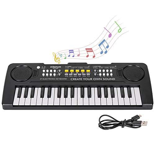 sanlinkee Kinder Klavier Keyboard, 37 Tasten Musik Klavier Tastatur Tragbare Mini Multifunktionale Elektronische Lehren Klaviertastatur Lernspielzeug Geschenk für Jungen Mädchen Kinder, Schwarz