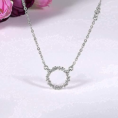 CCXXYANG Co.,ltd Collar Collar De Diamantes De Imitación De Círculo Largo De Plata Real para Mujer Joyería De Boda Gargantilla Collar con Colgante Regalo para Mujeres Hombres Niñas Niños