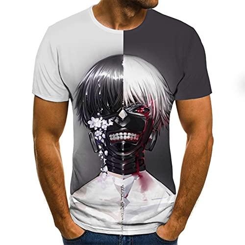 SSBZYES Camiseta para Hombre Camiseta De Verano De Manga Corta para Hombre Camiseta De Gran Tamaño para Hombre Jersey Casual Sin Cuello Patrón De Personaje Estampado Camiseta Recta