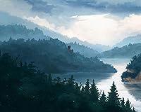 絵画キャンバスアクリル絵の具色原稿城の森の霧Diyデジタル絵画数字で現代の壁アート油絵ホリデーギフト家の装飾 カスタマイズ可能 40x50cm DIYフレーム