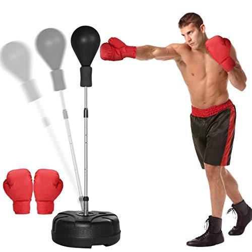 """KINGSO Punching Bag with Stand for Adults Kids Boxing Set with Solid Ball Reflex Speed Bag Height Adjustable 51""""-65"""" Free Standing Boxing Set for Home Gym Workout Fitness, Boxing Gloves Included"""