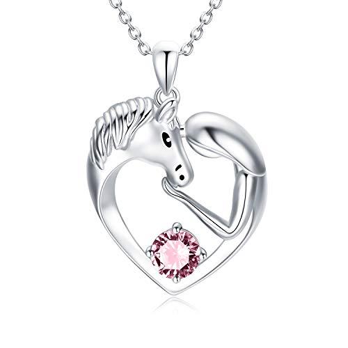 Pferde Kette Sterling Silber Damen Herz Anhänger Halskette mit Kristallen, Pferde Schmuck Geburtstagsgeschenk für Mädchen Frauen (Rosa)