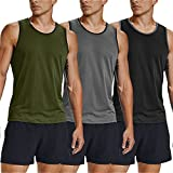 COOFANDY Men's Workout Tank Tops 3 Pack Gym Shirts Muscle Tee Bodybuilding Fitness Sleeveless T Shirts (Type02-Army Green/Black/Grey, Large)