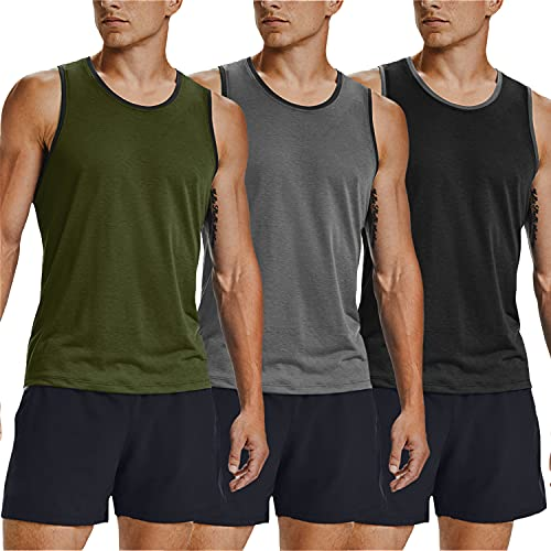 COOFANDY Men's 3 Pack Tank Tops Workout Gym Shirts Muscle Tee Bodybuilding Fitness Sleeveless T Shirts (Army Green/Black/Grey, X-Large)
