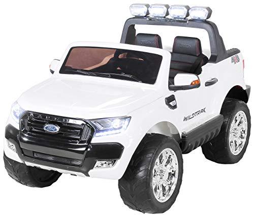 Actionbikes Motors Kinder Elektroauto Ford Ranger Wildtrak - Allrad 4x4 - Touchscreen - 2 Sitzer - 4 x 45 Watt Motor- 2,4 Ghz Rc Fernbedienung - Elektro Auto für Kinder ab 3 Jahre (Allrad Weiß)
