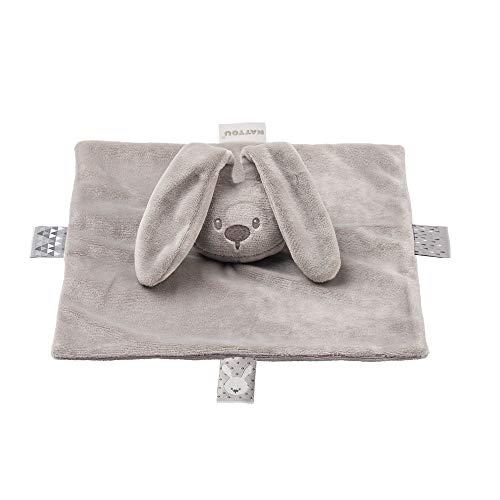 Nattou 877428 Schnuffeltuch Hase, Wegbegleiter ab der Geburt, 28 x 28 cm, Lapidou, Grau