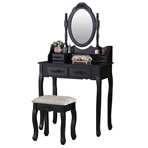 mecor Tocador con espejo, mesa de maquillaje negra para mujer con taburete, 4 cajones y espejo ovalado Country House